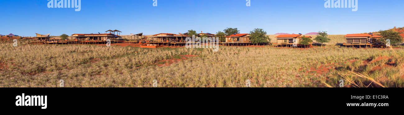Panoramic view of Dunes Lodge.Wolwedans NamibRand Nature Reserve.Namibia - Stock Image