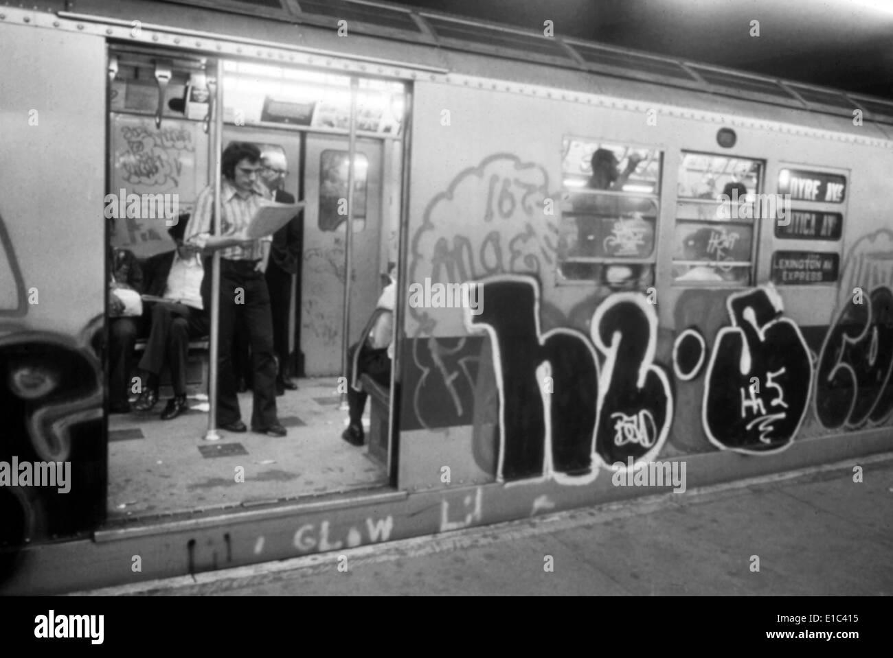 1970s america graffiti on a subway car on the lexington avenue line new york city new york ca 1972