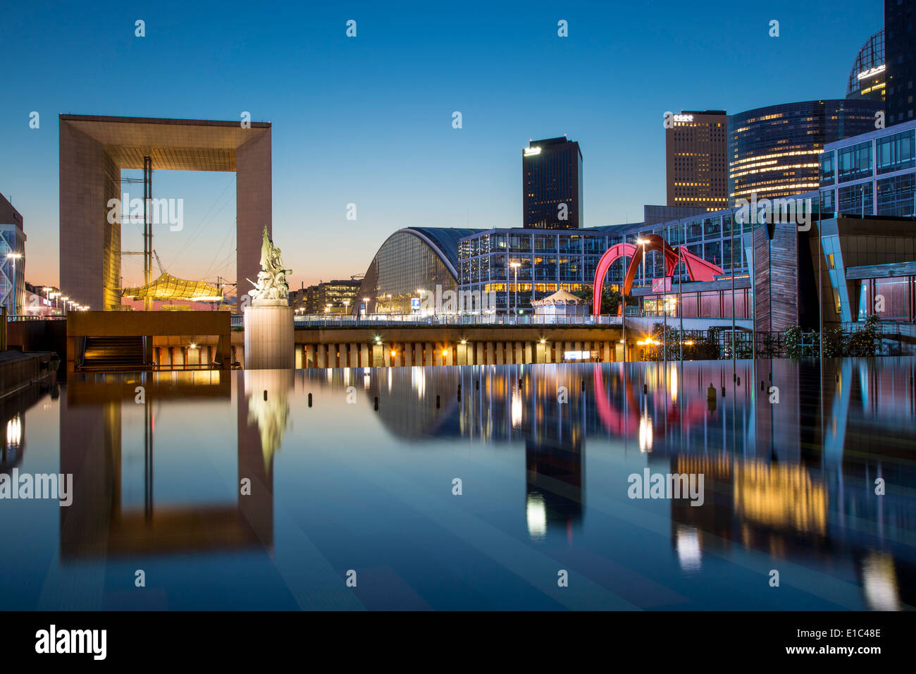 The Grand Arch and modern buildings of La Defense, Paris France Stock Photo