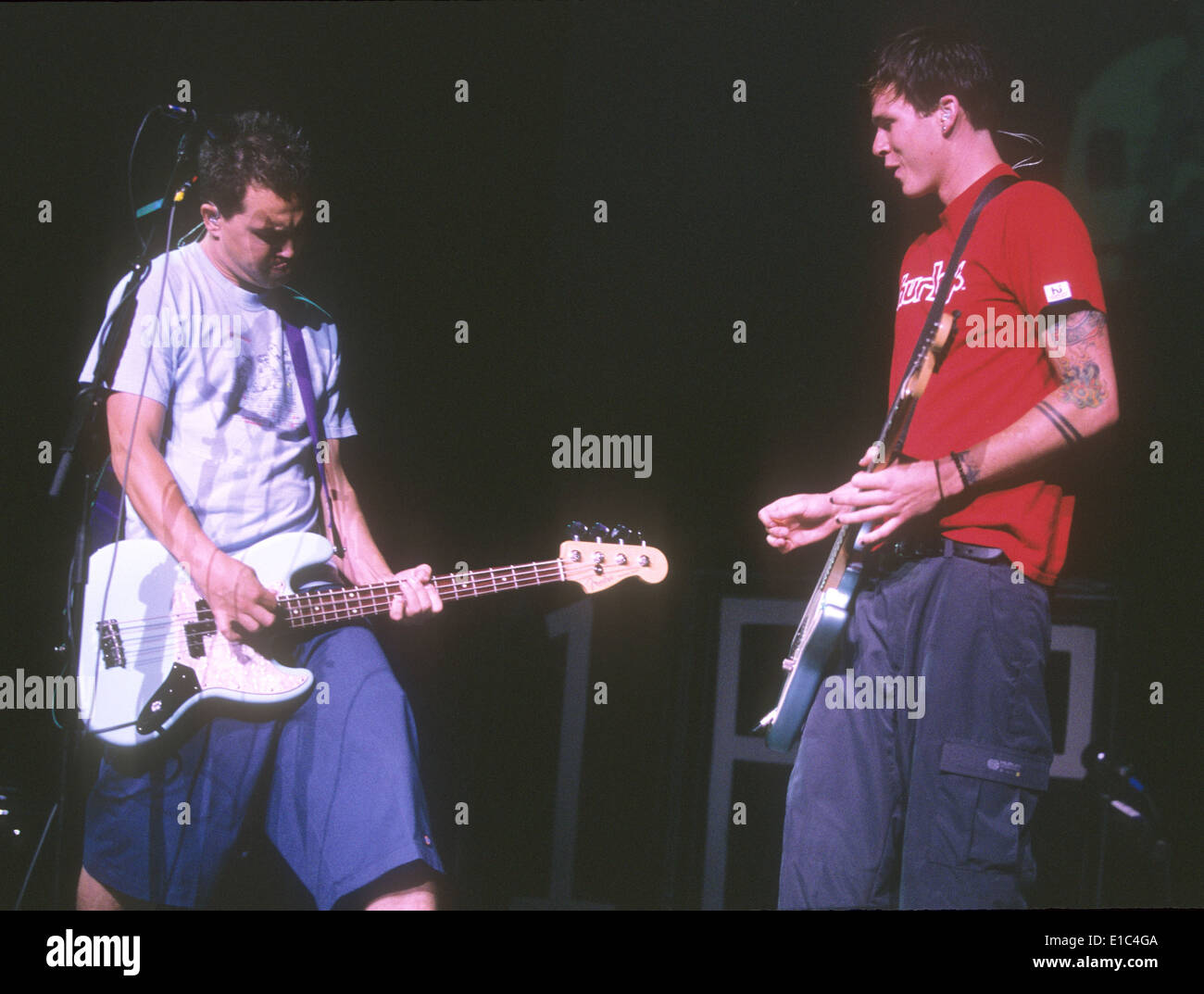 Blink 182 Us Rock Group In 2000 With Mark Hoppus At Left And Tom