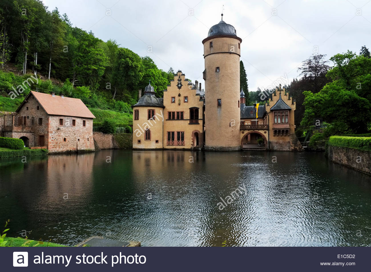 The moat of Mespelbrunn Castle has a large pond which is stocked with trout. Stock Photo