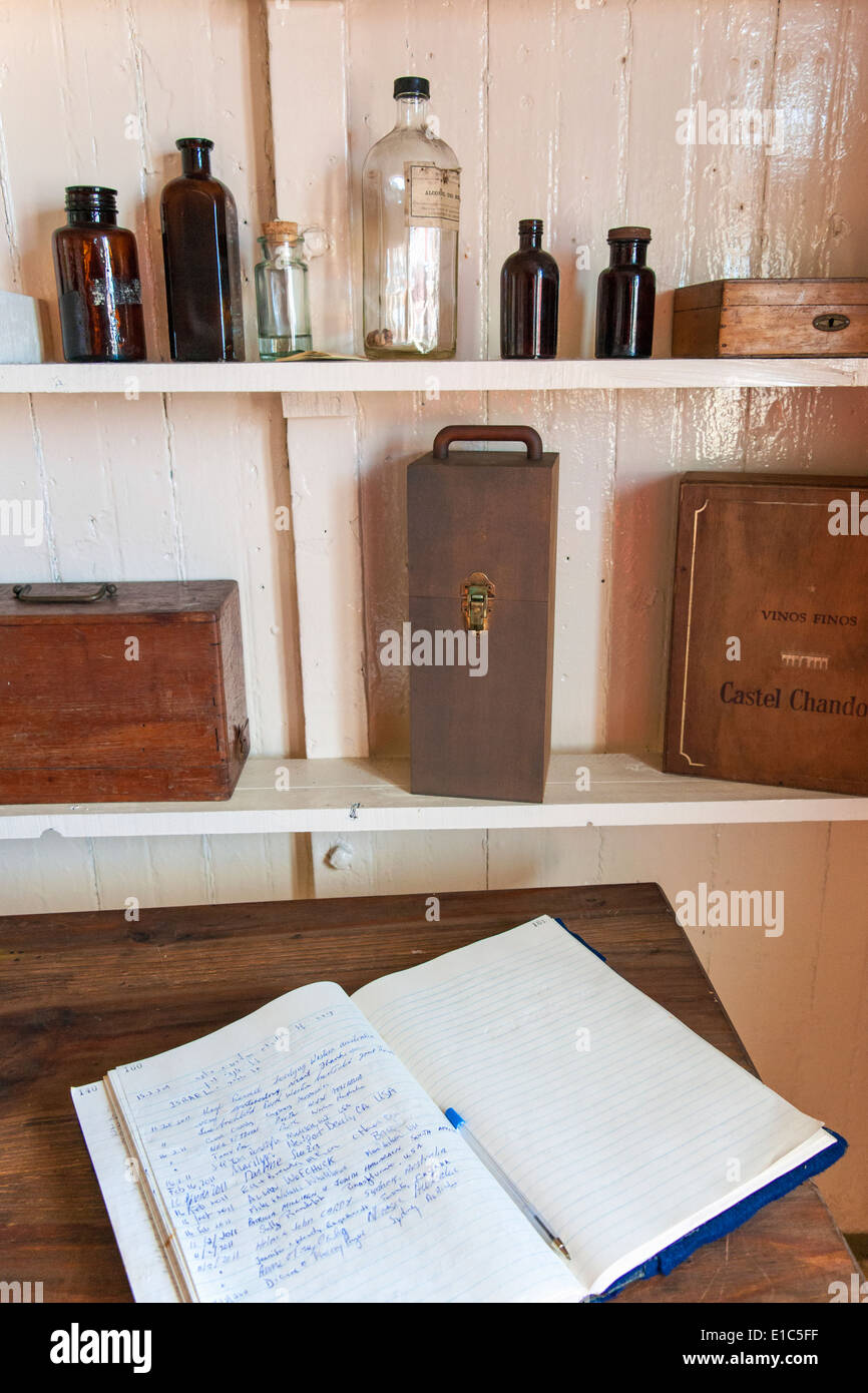 Scientific research station at Camp Livingston. Historic site. Shelves record books and storage. - Stock Image