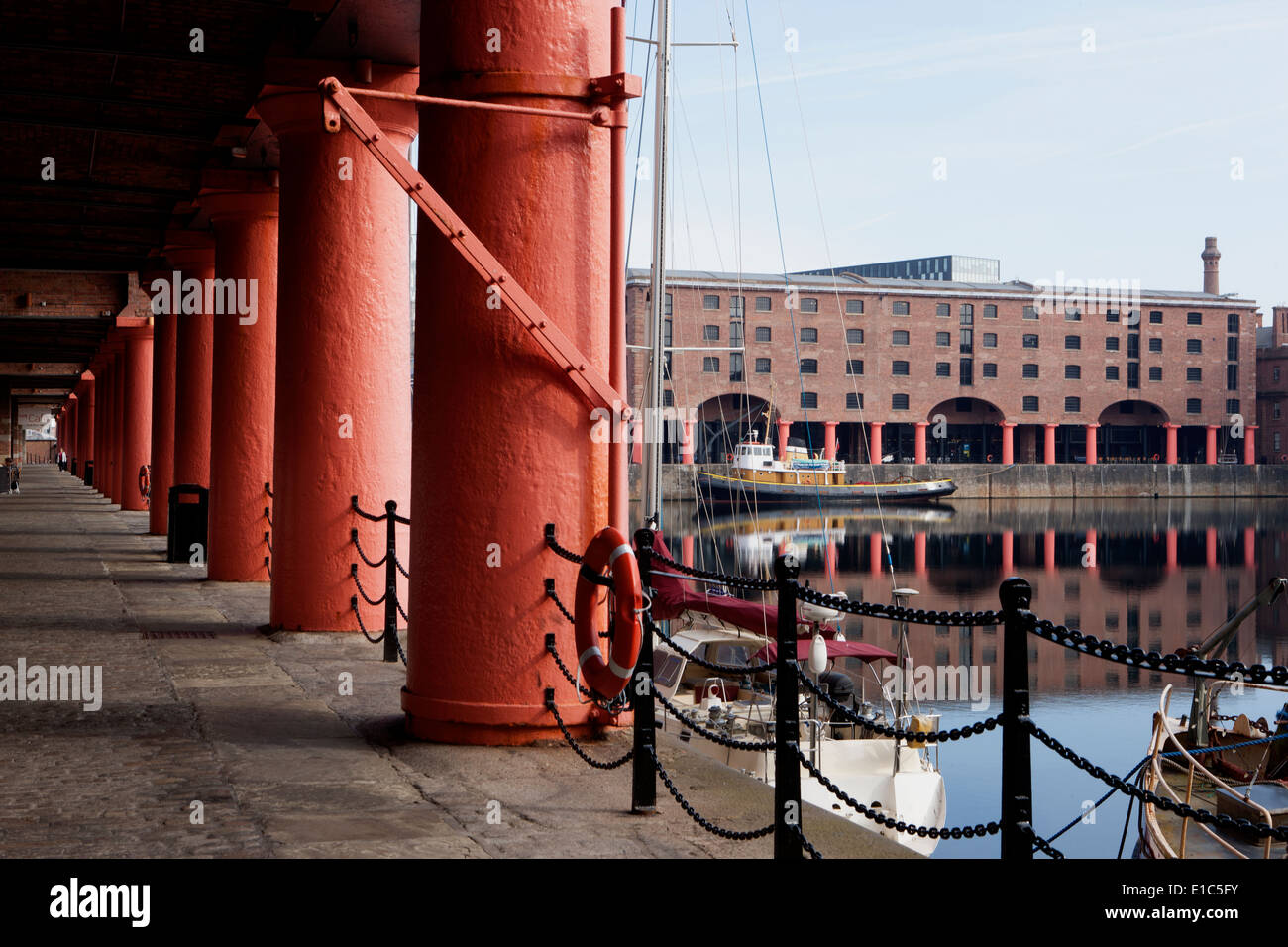 Boats in the Albert Docks at Liverpool - Stock Image