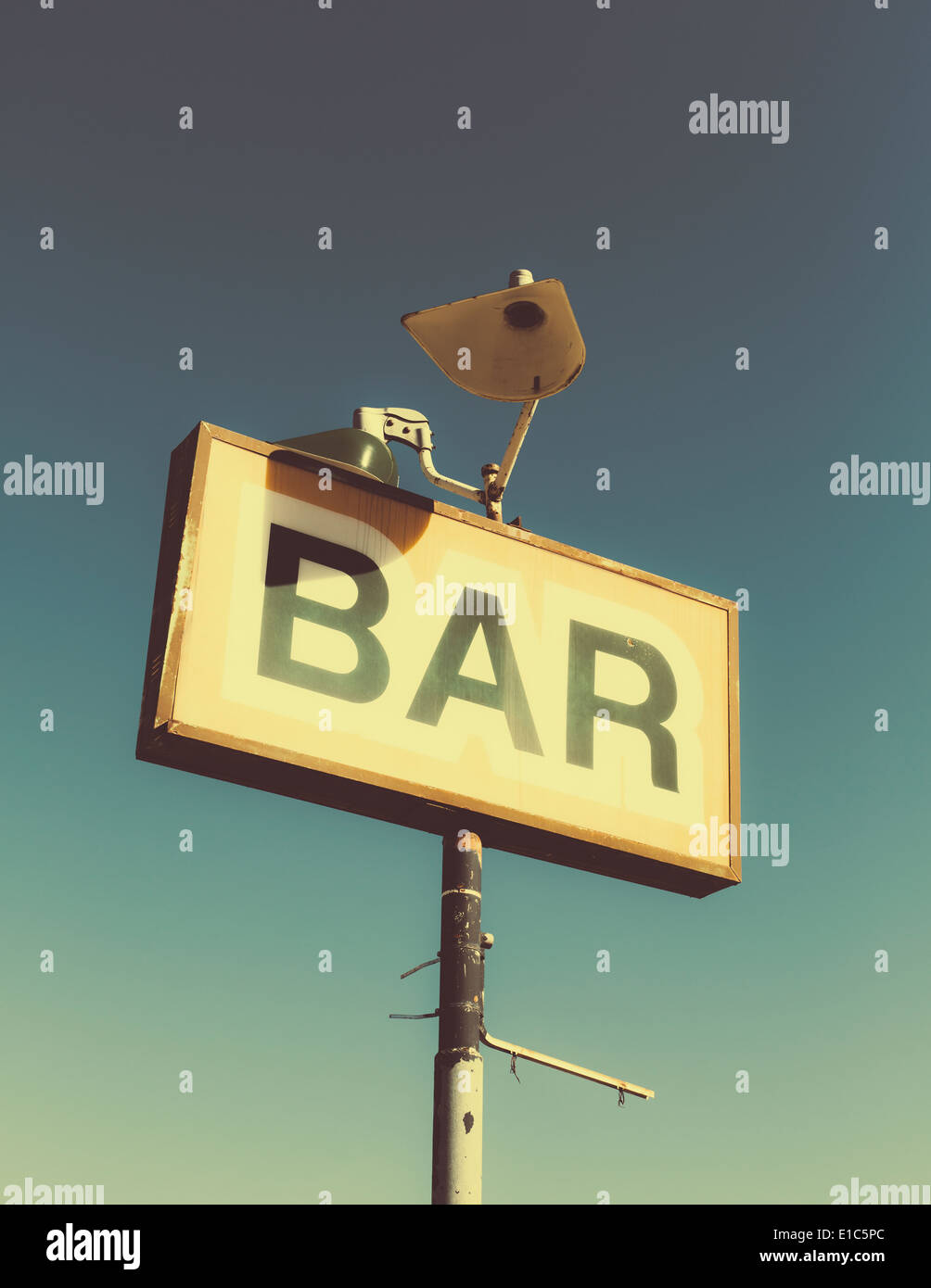 A faded BAR sign on the roadside in Joshua Tree national park. - Stock Image