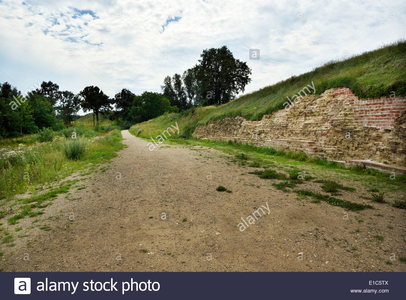 Danevirke, an earthwork fortification 19 mi (30 km) long built in phases between AD 737 and early 13th century by Danish rulers. - Stock Image