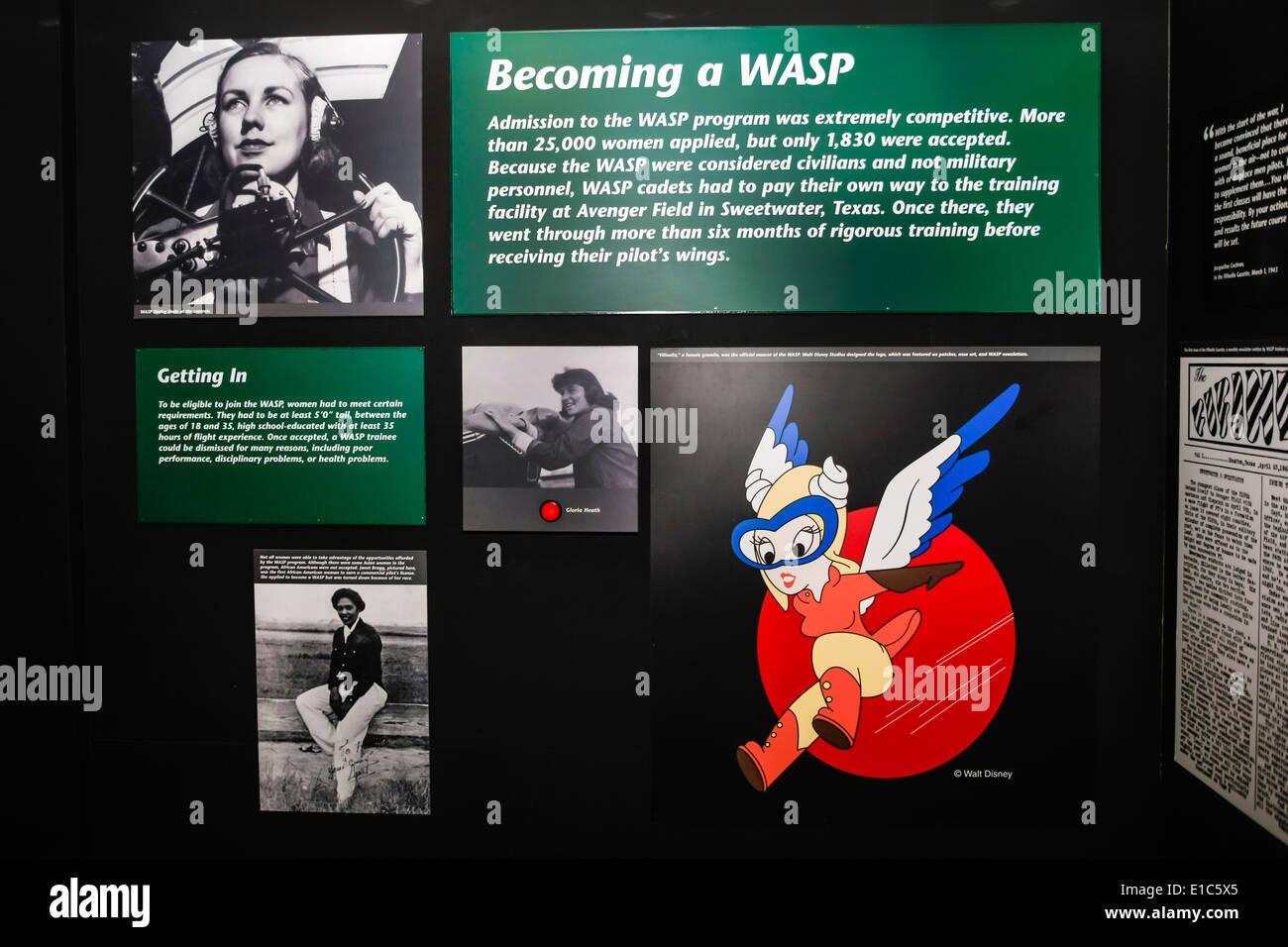 Honoring the WASP's exhibit at the Mighty Eighth AF Museum in Pooler GA - Stock Image
