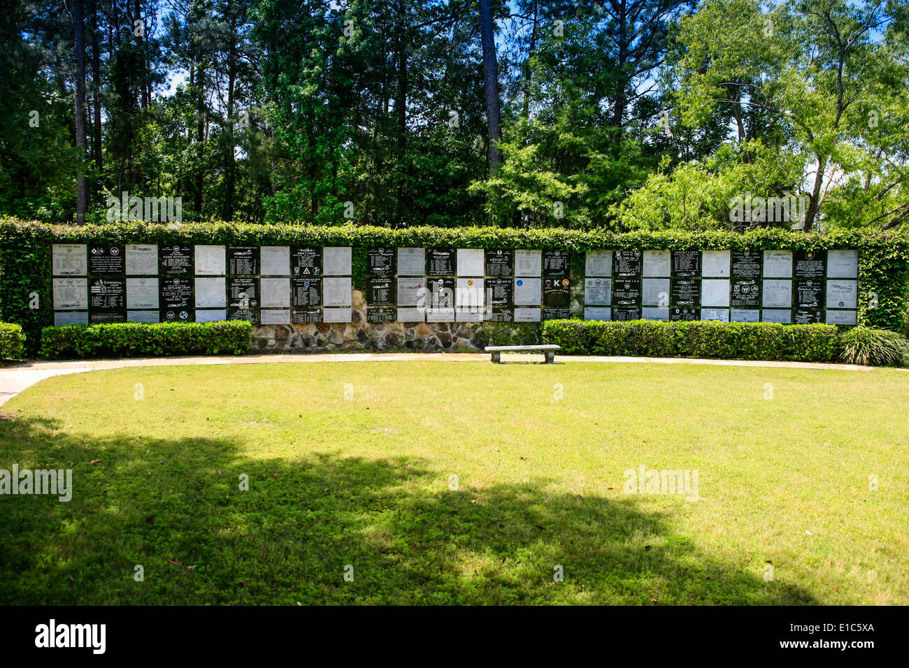 Plaques in the Memorial Gardens at the Mighty Eighth AF Museum at Pooler GA - Stock Image