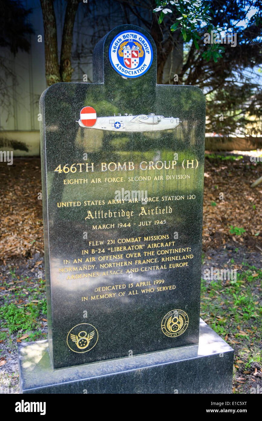 Headstones in the Memorial Gardens at the Mighty Eighth AF Museum at Pooler GA - Stock Image
