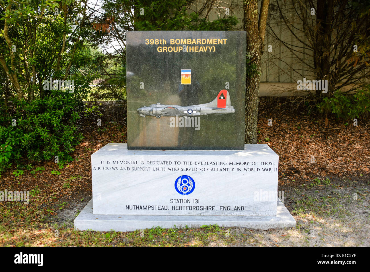 Headstones in the Memorial Gardens at the Mighty Eighth AF Museum at Pooler GA Stock Photo