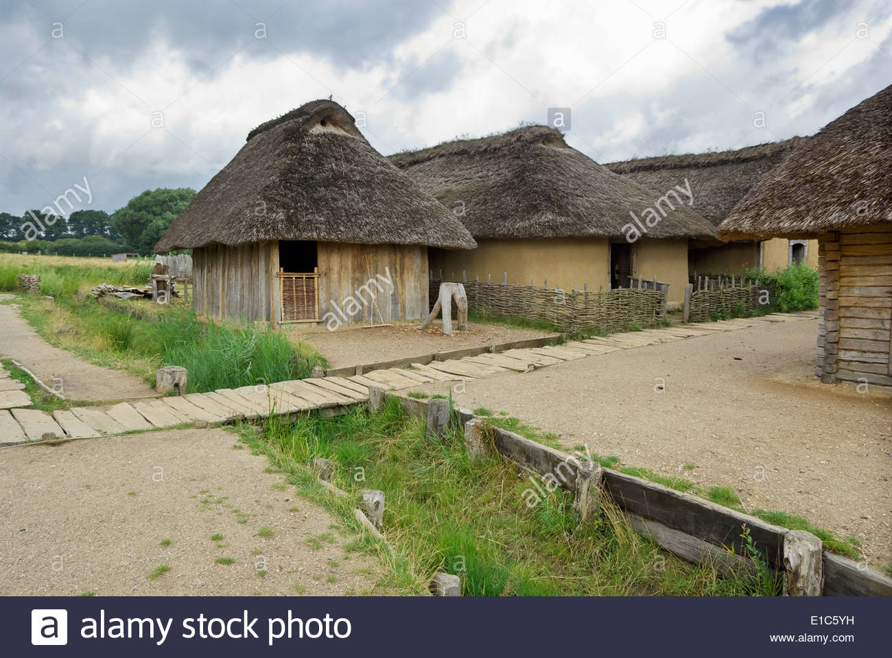 In its heyday, the Viking market town of Haithabu had about 1000 such thatch-roofed houses surrounded by a semicircular rampart.Vikings - Stock Image