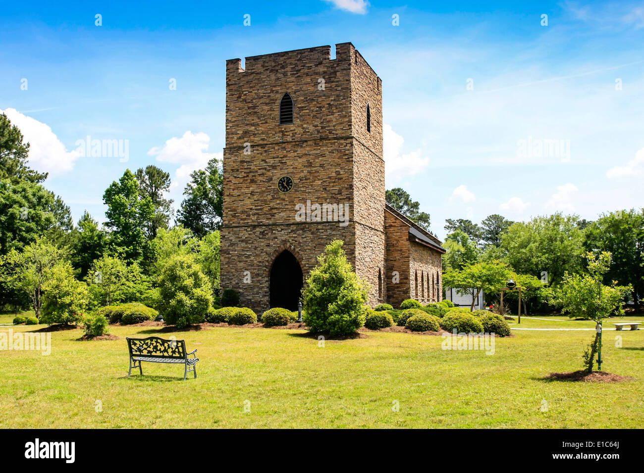 Chapel of the Fallen Eagles. Built to resemble an English Chapel at the Mighty 8th AF Museum at Pooler GA - Stock Image