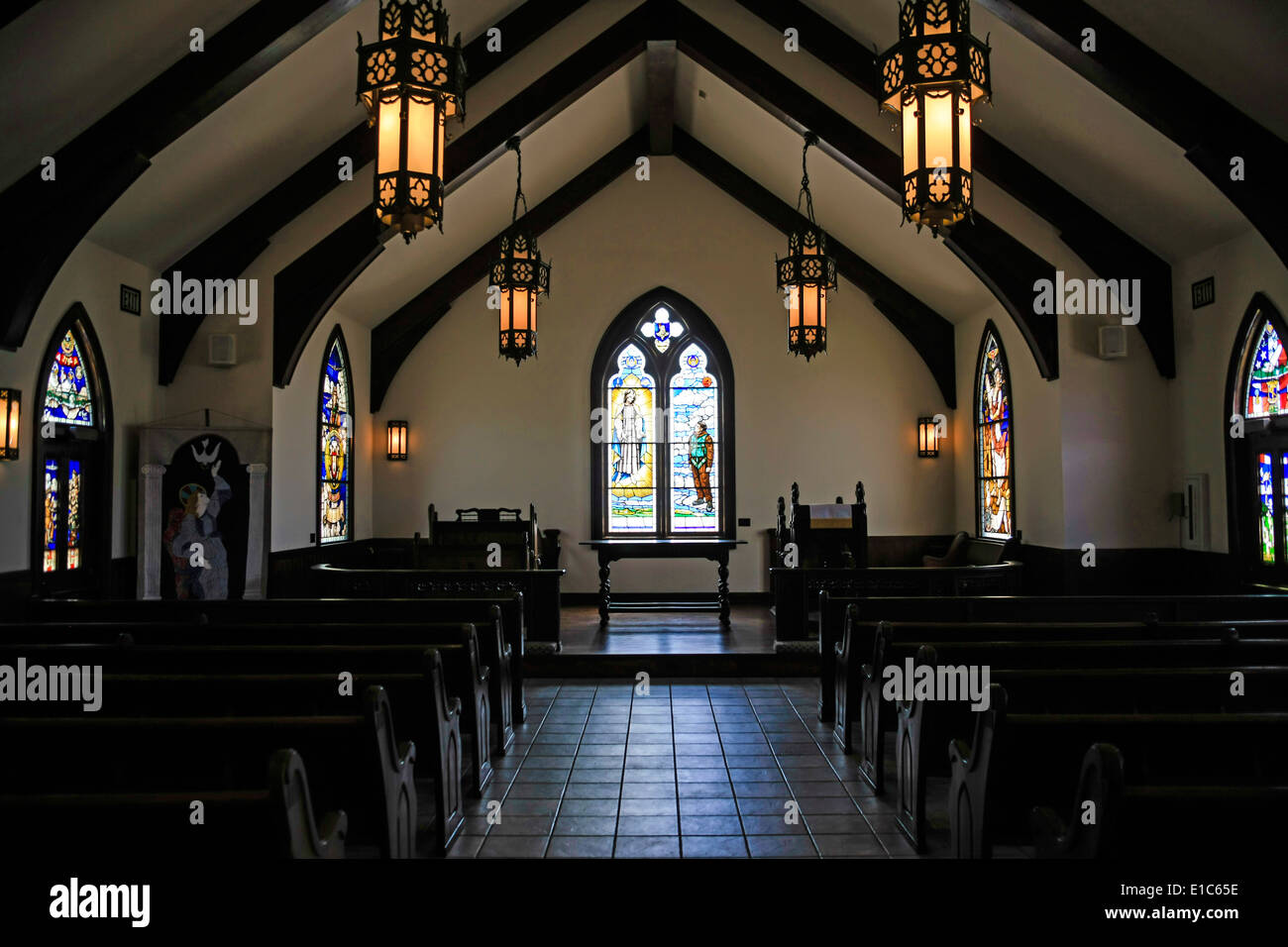 Inside the Chapel of the Fallen Eagles. Built to resemble an English Chapel at the Mighty 8th AF Museum at Pooler GA - Stock Image