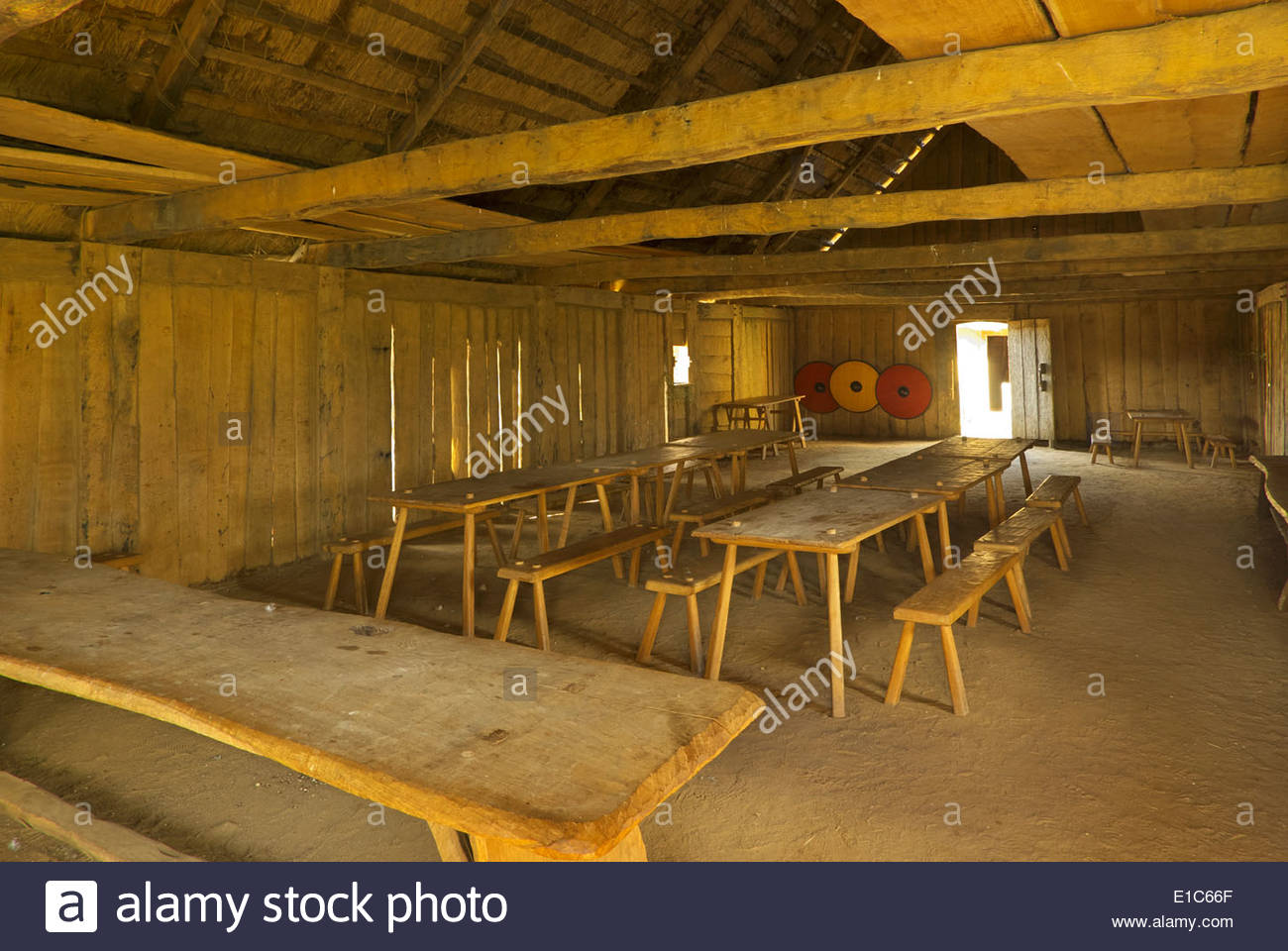 Interior of meeting and dining hall at Haithabu (Haddeby, Hedeby) - Stock Image