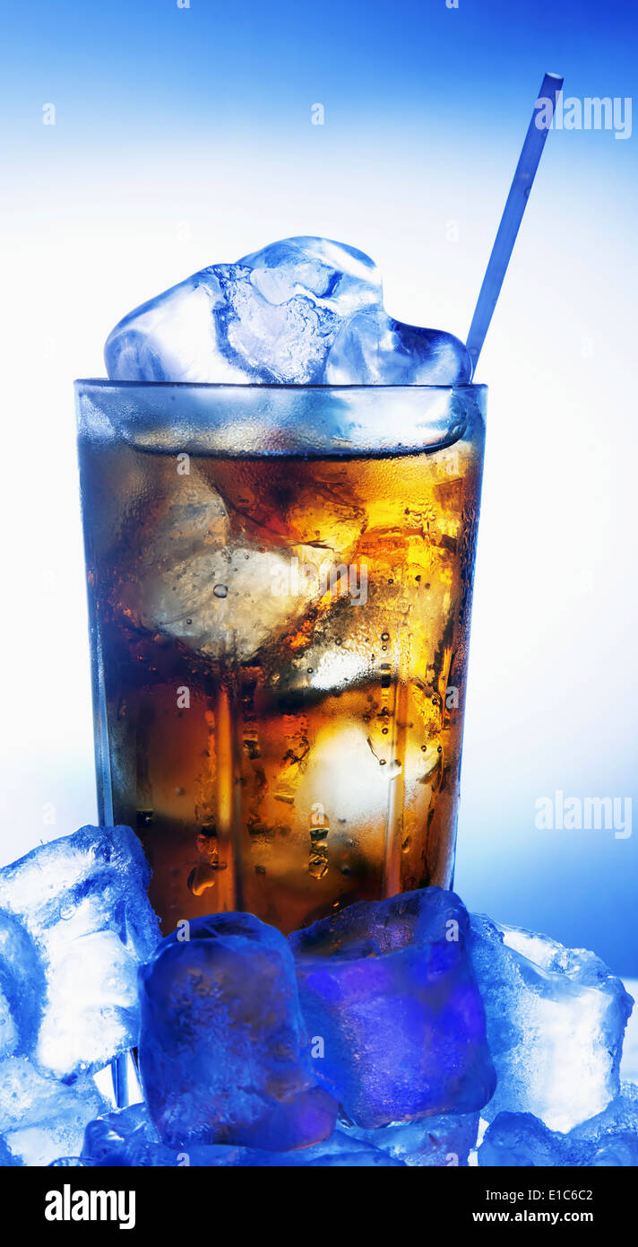 Fresh, cool glass of cola with ice - Stock Image