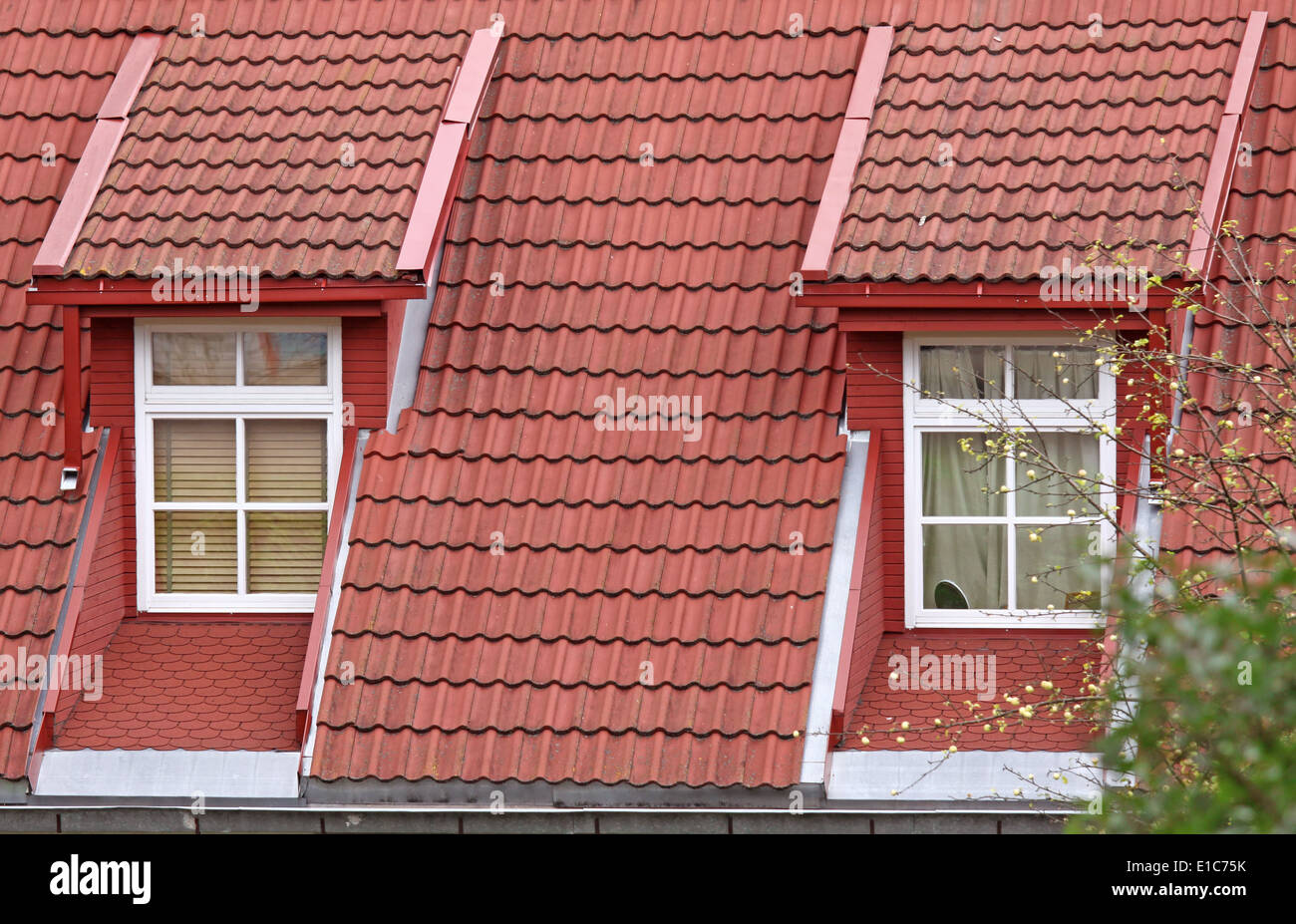 Two Classic Design Roof Windows With Red Tiles Stock Photo Alamy