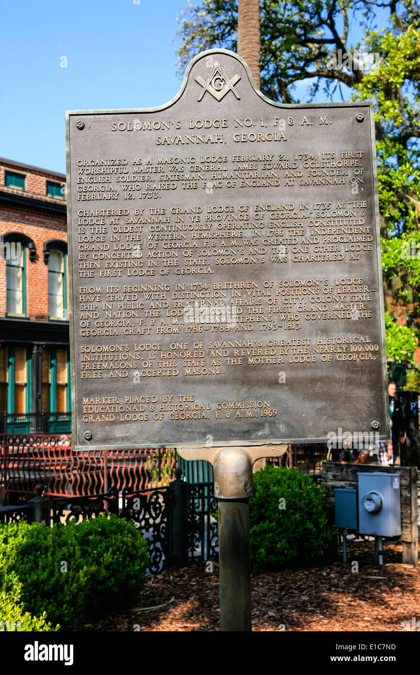 Historic Plaque relating to the Freemasons Old Savannah Cotton Exchange building - Stock Image