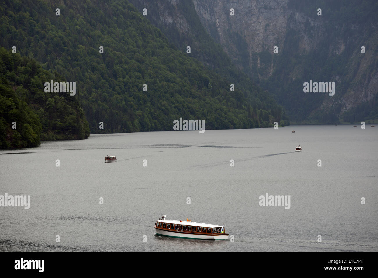 Sightseeing boats operated by Seen-Schifffahrt on the Konigssee, Bavaria, Germany. - Stock Image
