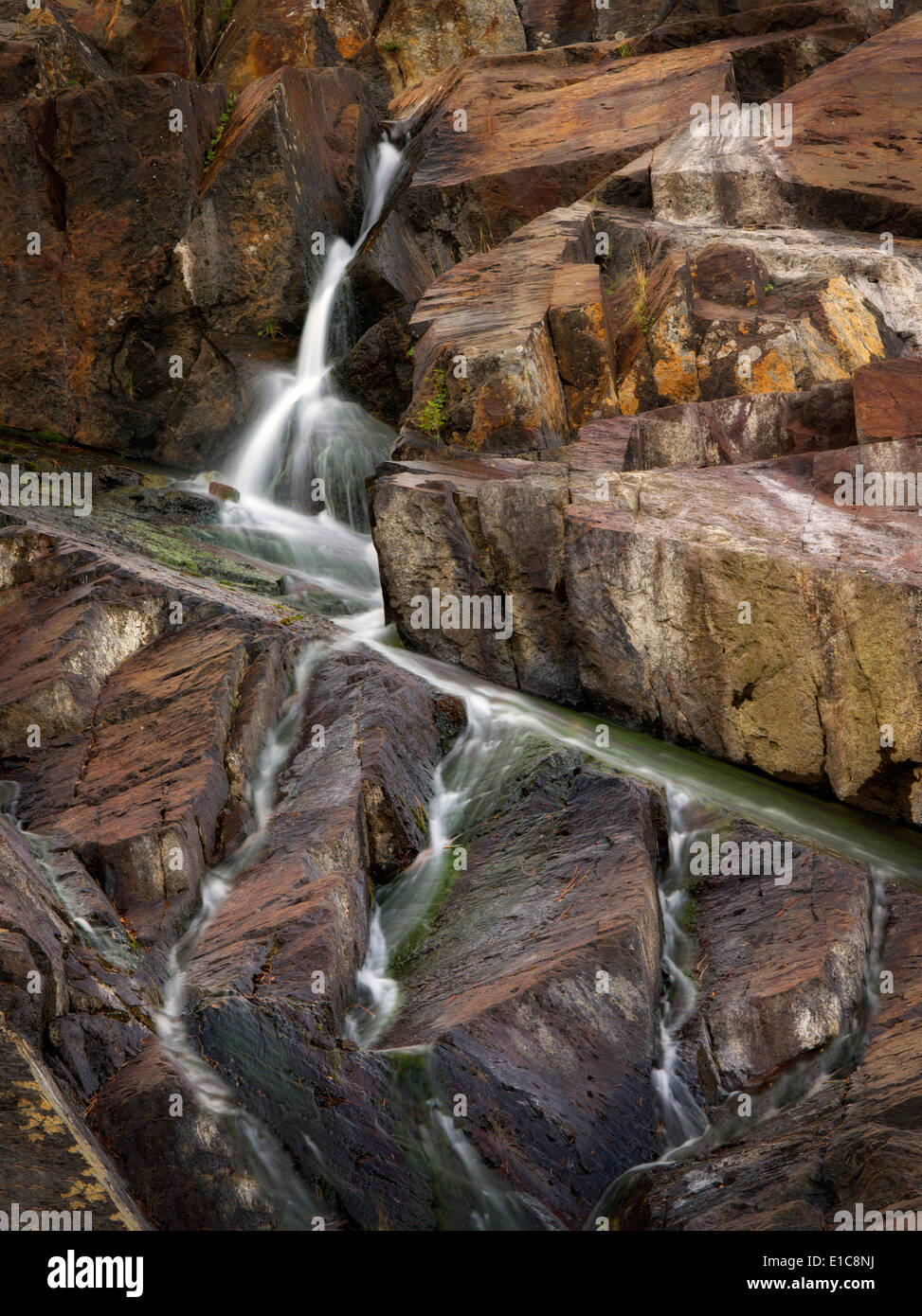 Waterfall on Glen Alpine Creek near Fallen Leaf Lake. California - Stock Image