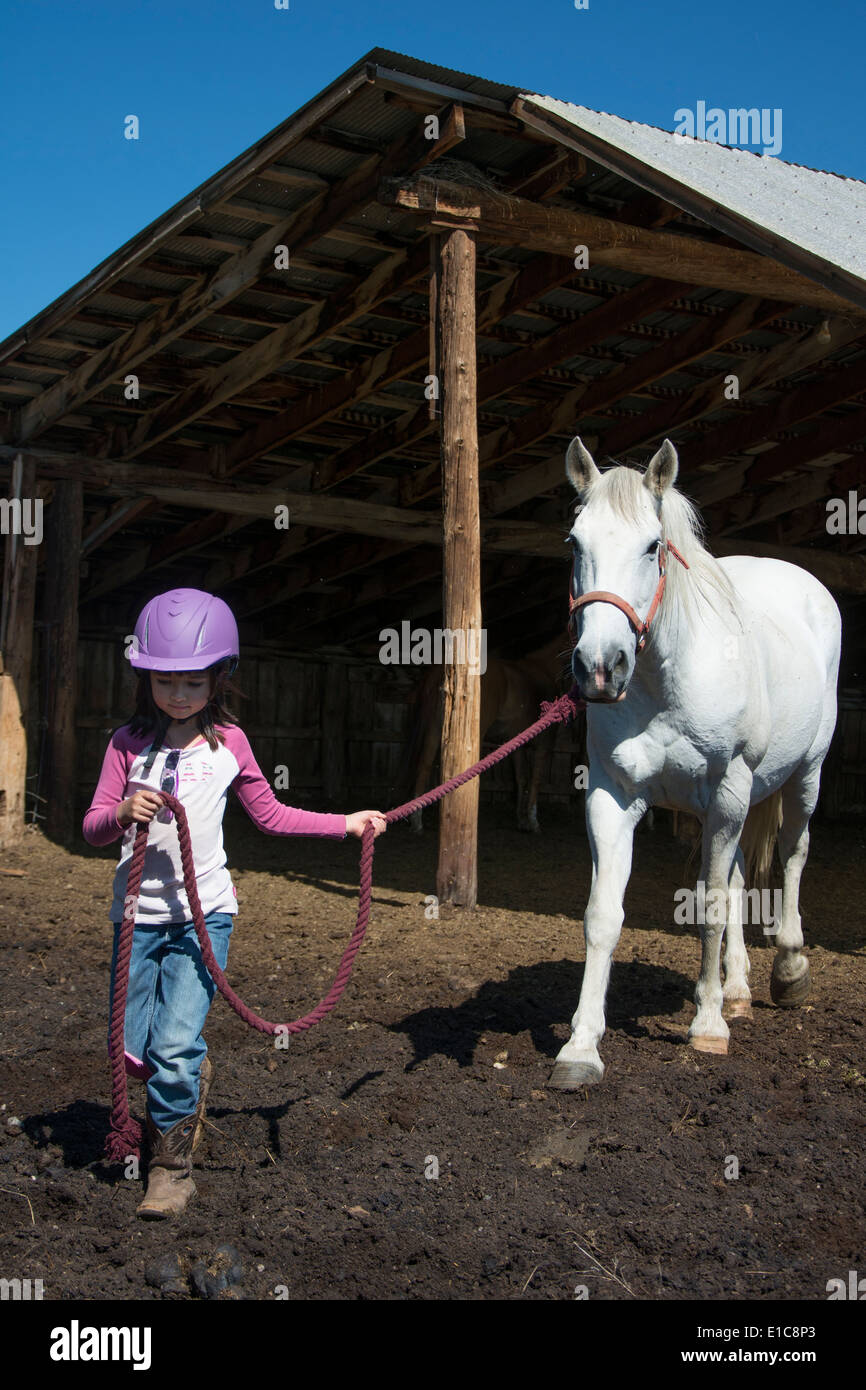A 6-year-old cowgirl leads her horse out of the barn. - Stock Image