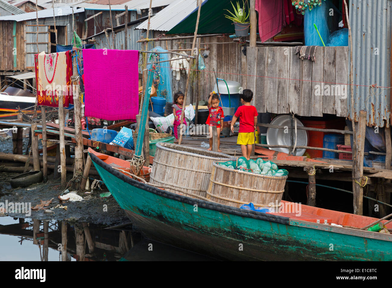 Fishing village in Sihanoukville Port,Sihanouk Province,Cambodia,Asia - Stock Image