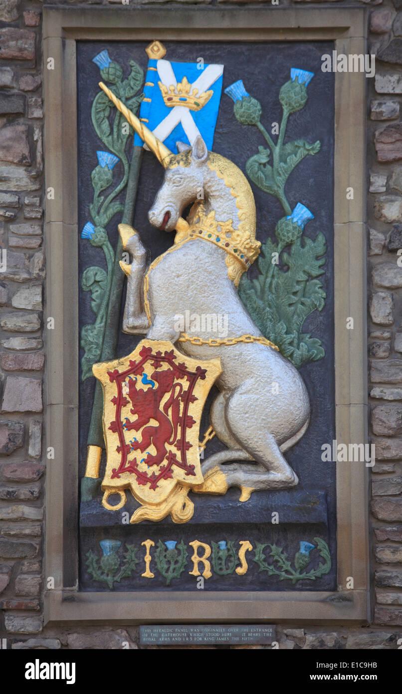 UK, Scotland, Edinburgh, Heraldic Panel of King James the Fifth, - Stock Image