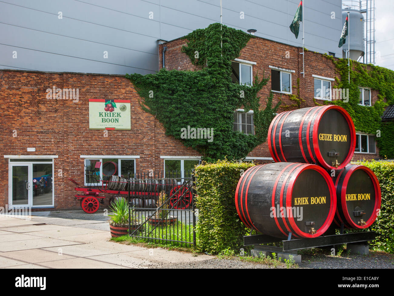 Entrance of the Brouwerij Boon, Belgian brewery at Lembeek near Brussels, producer of geuze and kriek beer - Stock Image