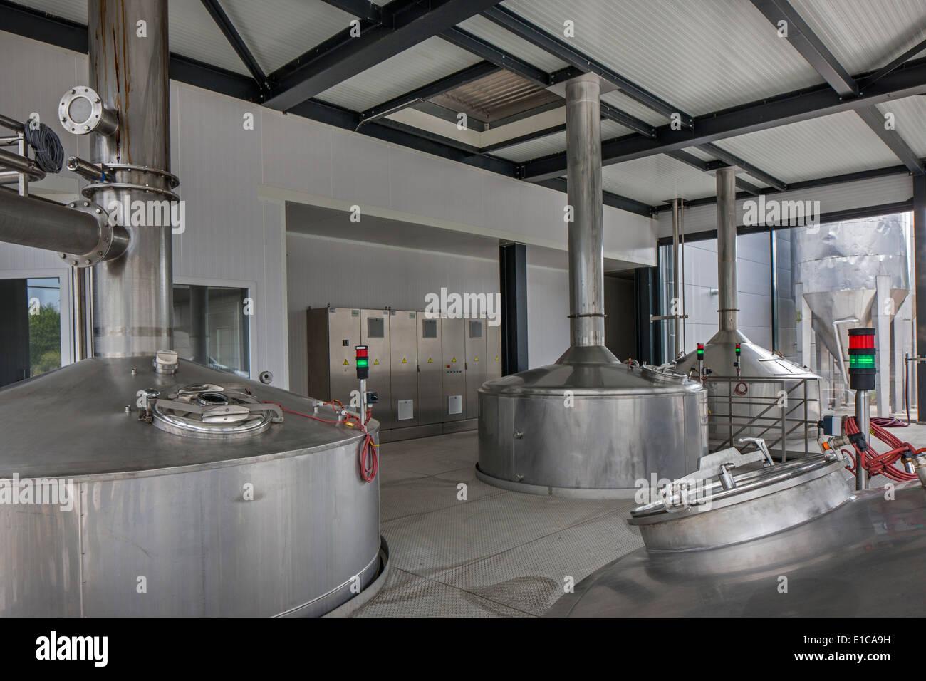 Brew kettles at Brouwerij Boon, Belgian brewery at Lembeek near Brussels, producer of geuze and kriek beer - Stock Image