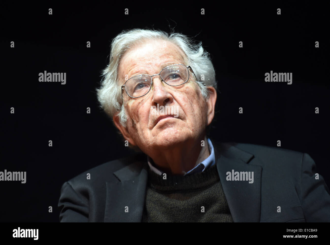 Karlsruhe, Germany. 30th May, 2014. The US american social critic Noam Chomsky delivers a speech in the Center for Art and Media in Karlsruhe, Germany, 30 May 2014. Photo: Uli Deck/dpa/Alamy Live News - Stock Image