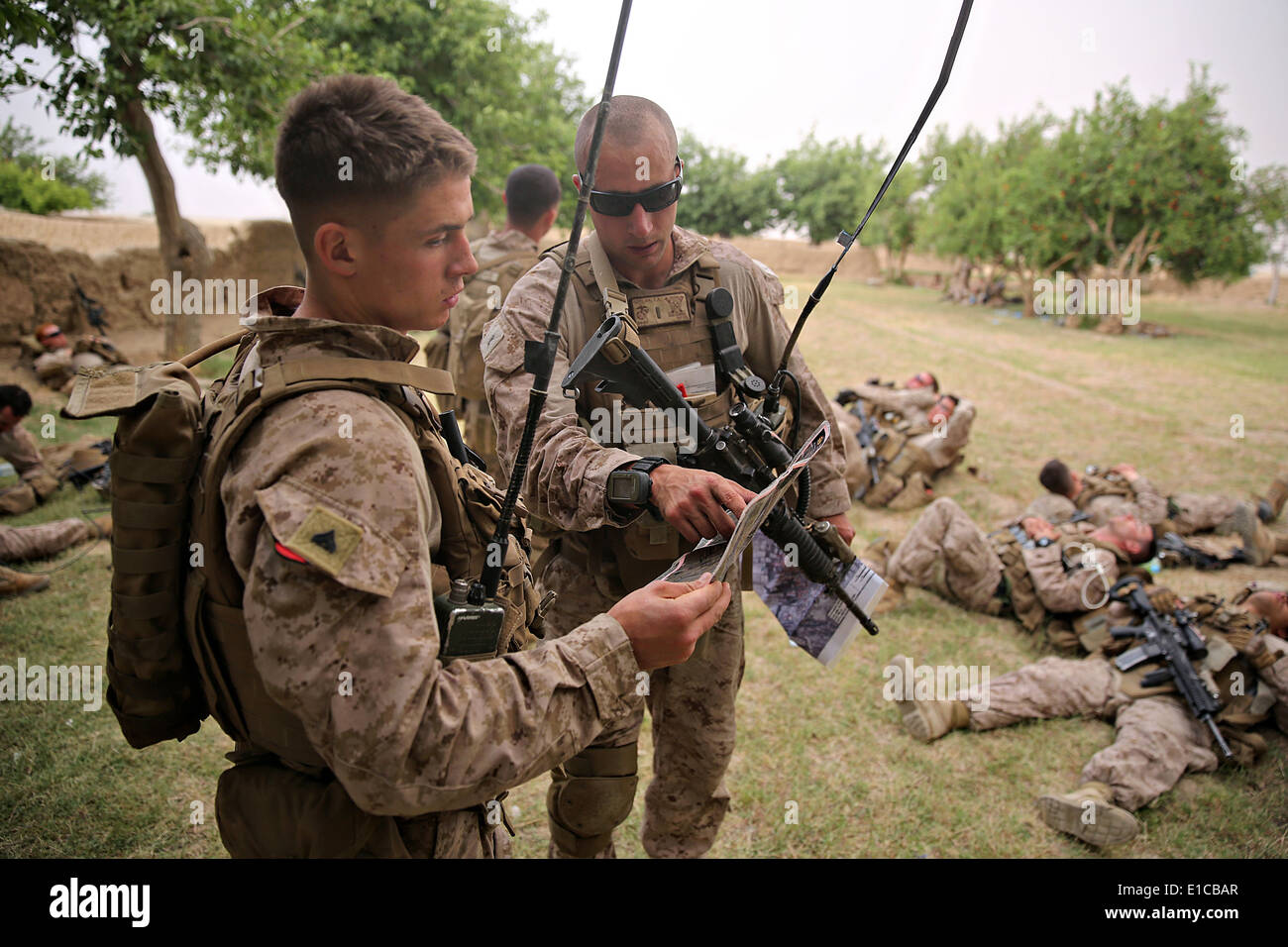 US Marines with the 1st Battalion, 7th Marine Regiment, consult a ...