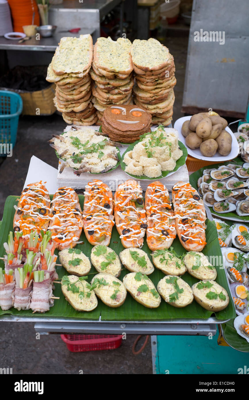 Appetiser Display at Dinh Cau Night Market Phu Quoc Island Vietnam - Stock Image