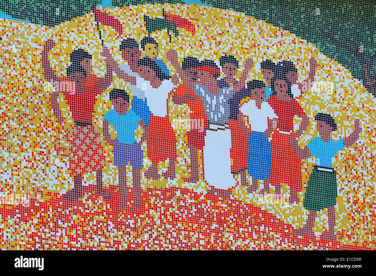 Tile mosaic at the Anthropological Museum,Port Blair,Andaman Islands,India,Asia - Stock Image