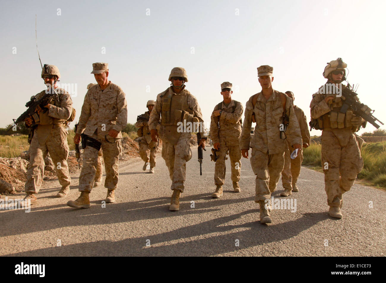 U.S. Marine Corps Lt. Gen. Joseph Dunford, second from left, the commander of I Marine Expeditionary Force, and Stock Photo
