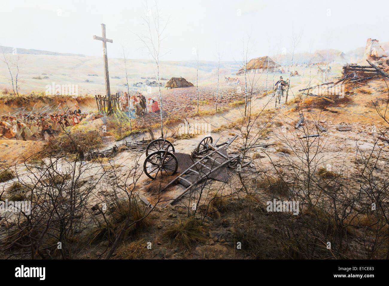 Europe, Poland, Silesia, Wroclaw, Panorama of Raclawice, painting the battle of Raclawice 1794, by Jan Styka Wolciech - Stock Image