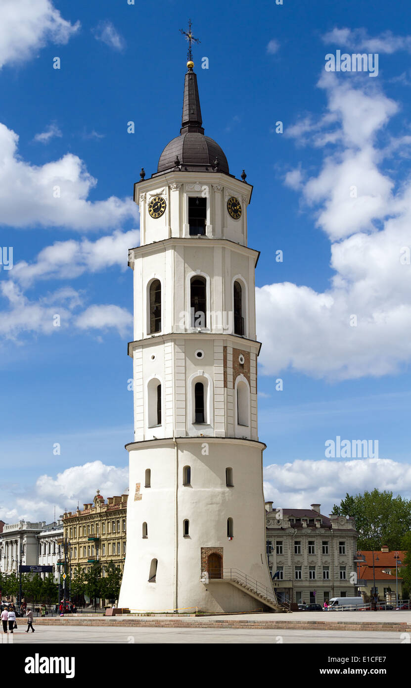 The bell tower of Vilnius Cathedral in Cathedral Square in Vilnius, the capital of Lithuania. - Stock Image