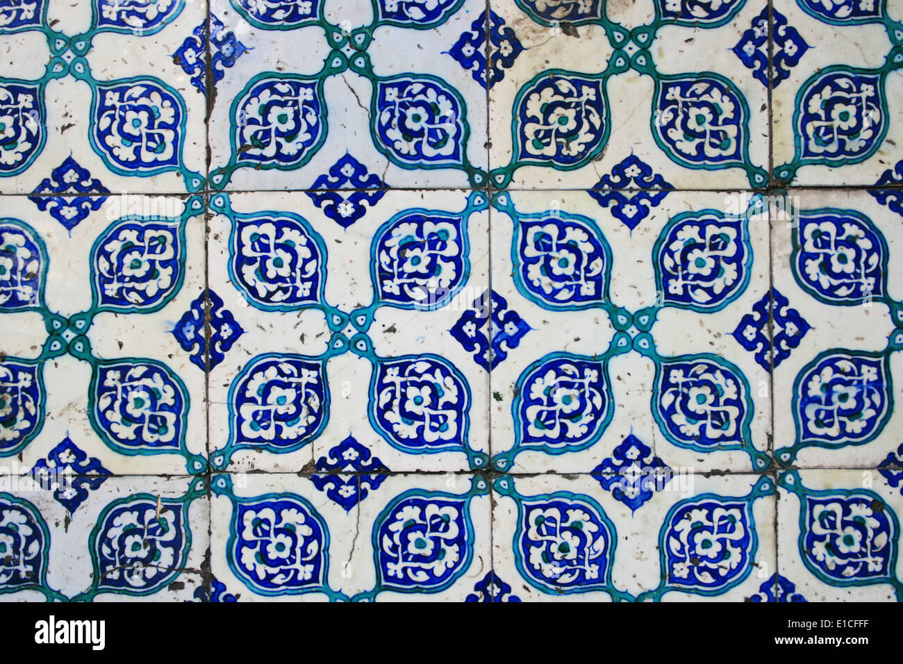 Old Wall Tiles of Yeni Mosque in Istanbul - Stock Image