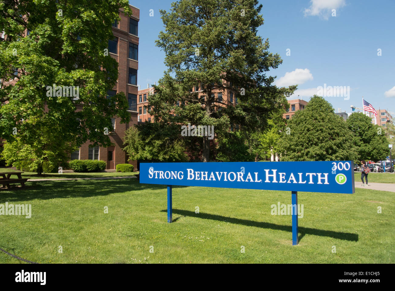 Strong Memorial Hospital sign. - Stock Image