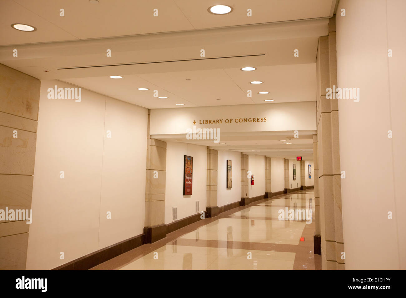 WASHINGTON D.C. - MAY 23 2014: The underground tunnel connecting the U.S. Capitol Building to the Library of Congress. - Stock Image
