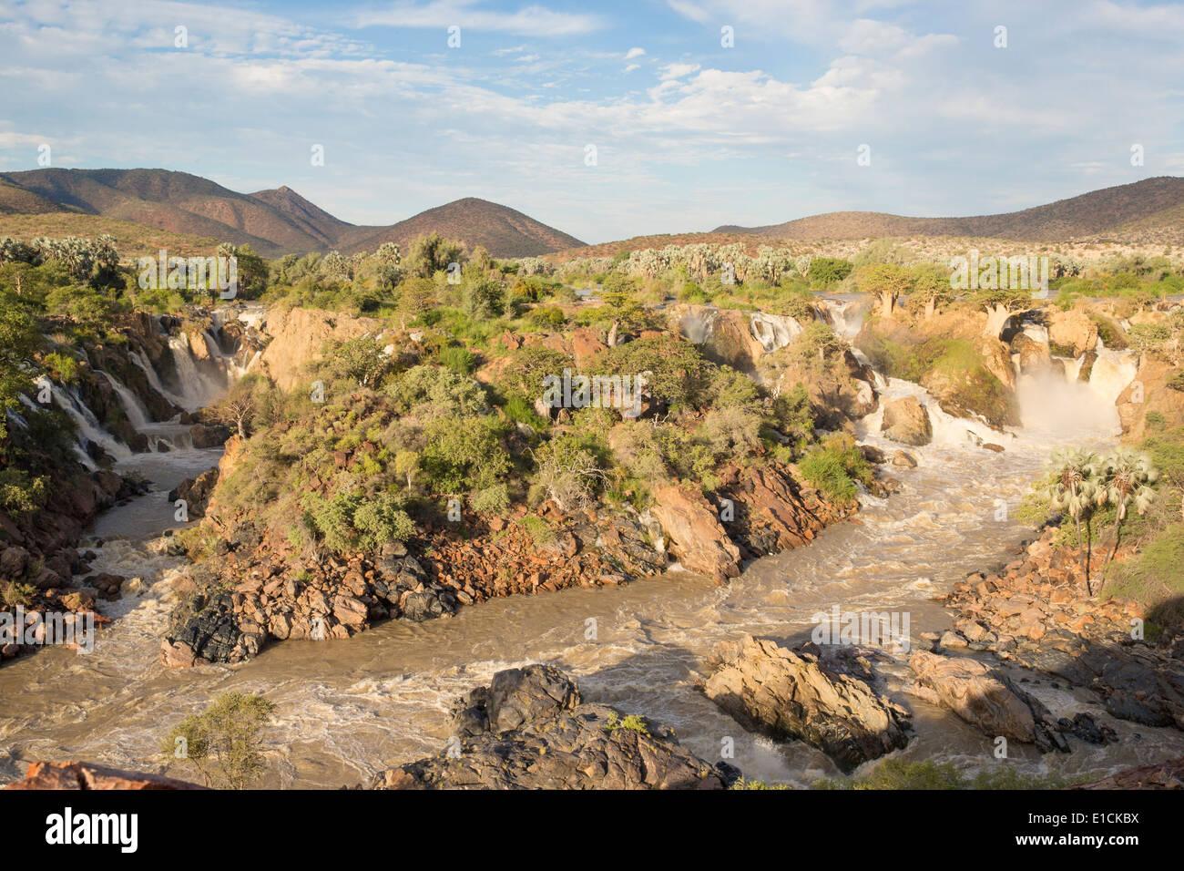 View over Epupa Falls at dusk - Stock Image