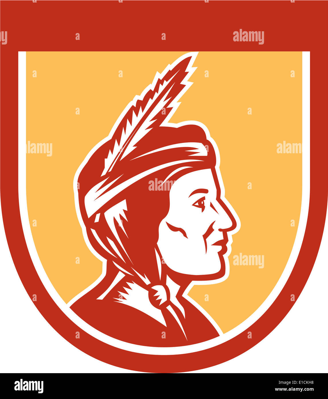 Illustration of a native american indian chief sideview with headdress set inside shield crest on isolated ackground. - Stock Image