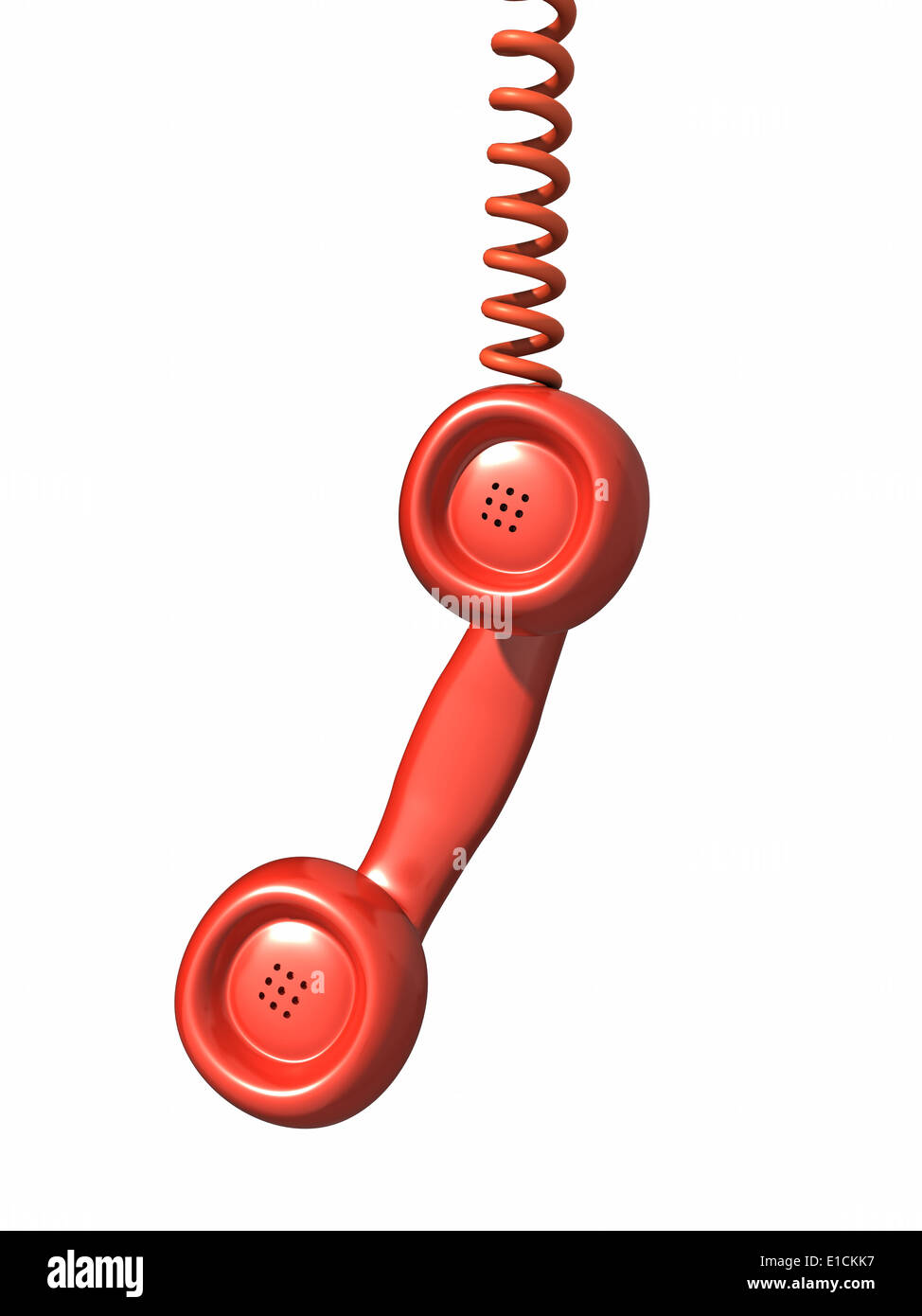 Amazing 3D Red Telephone Handset Hangs By A Wire Stock Photo 69734987 Alamy Wiring 101 Nizathateforg