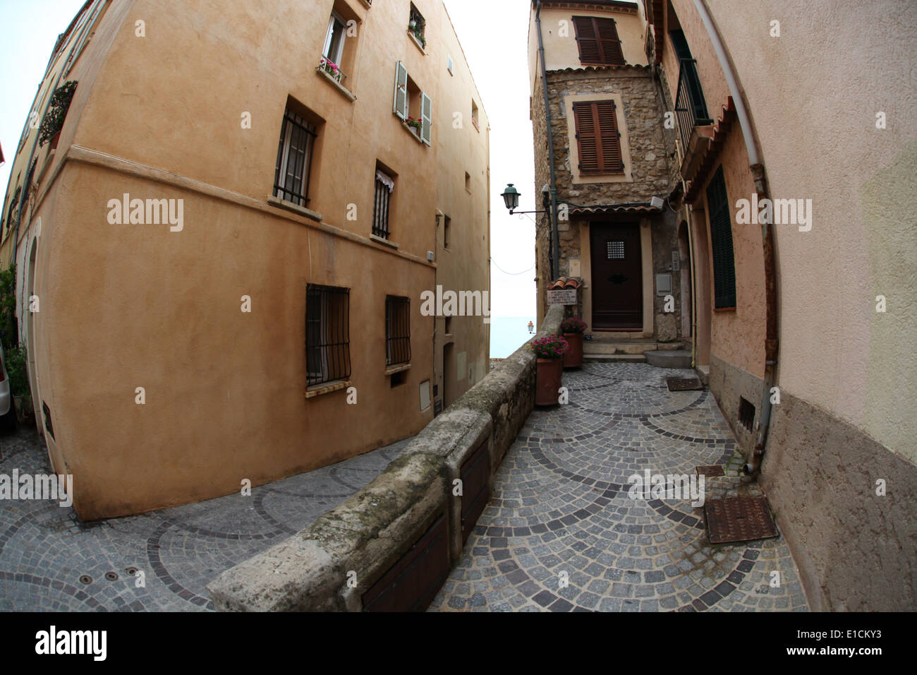 Cobbled stones lining the pathways and alleys of Saint-Paul-de-Vence - Stock Image