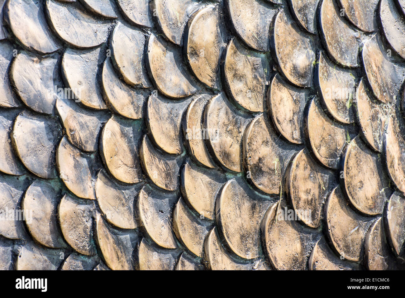 Background of a metallic fish scales pattern - Stock Image