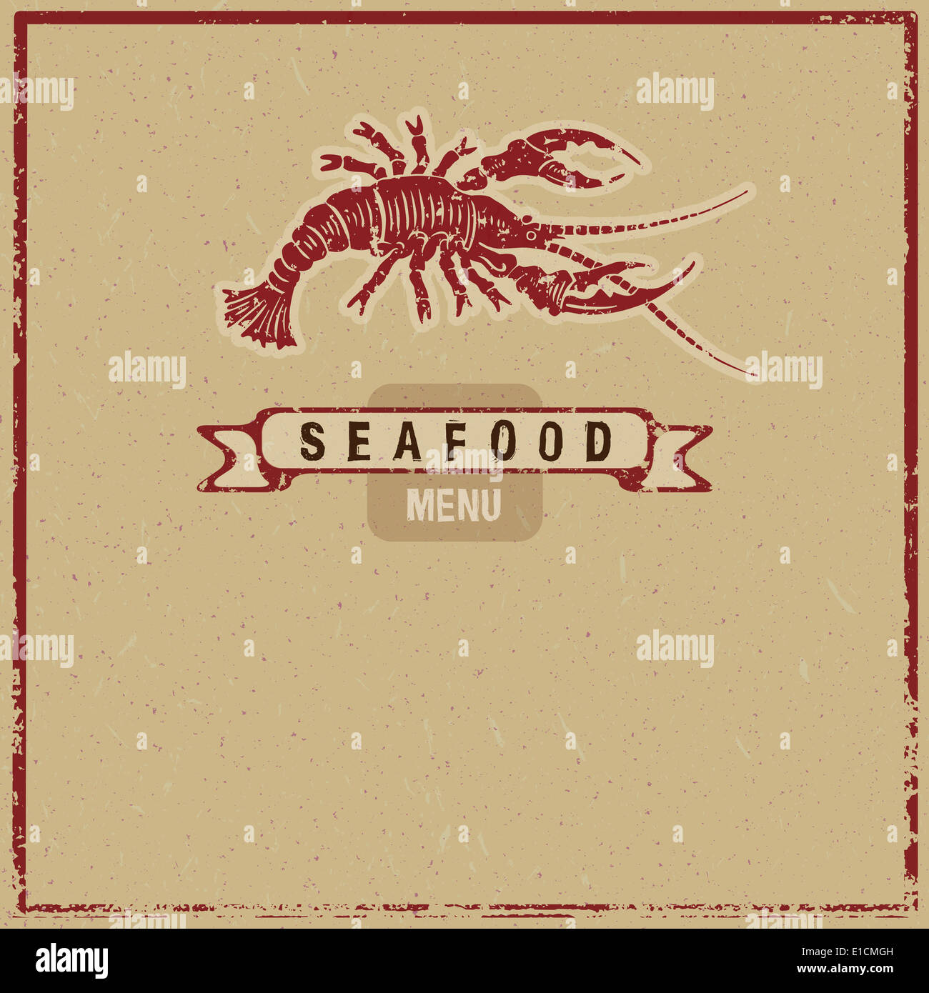 woodcut seafood menu cover - Stock Image