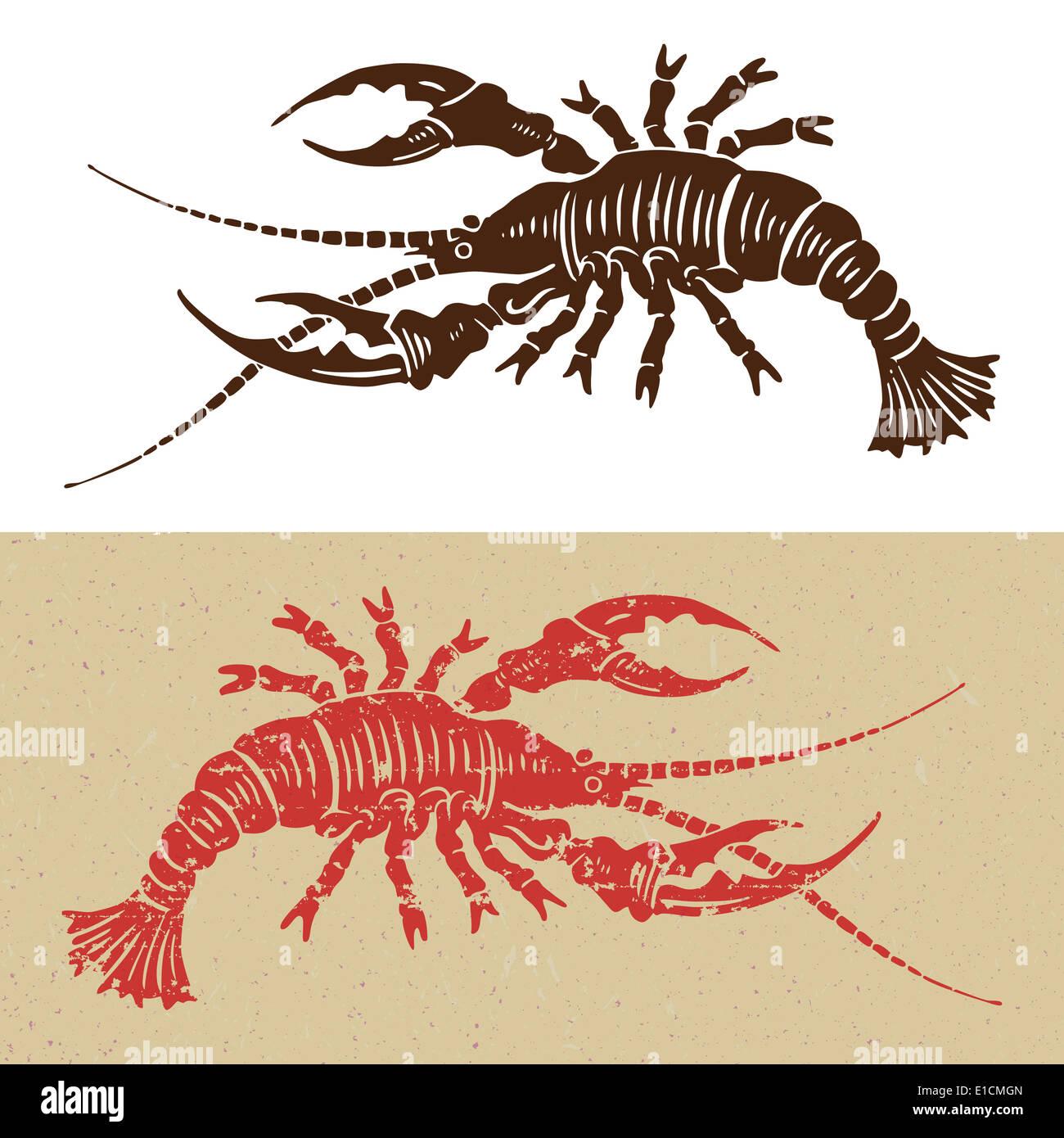 woodcut seafood icon - Stock Image