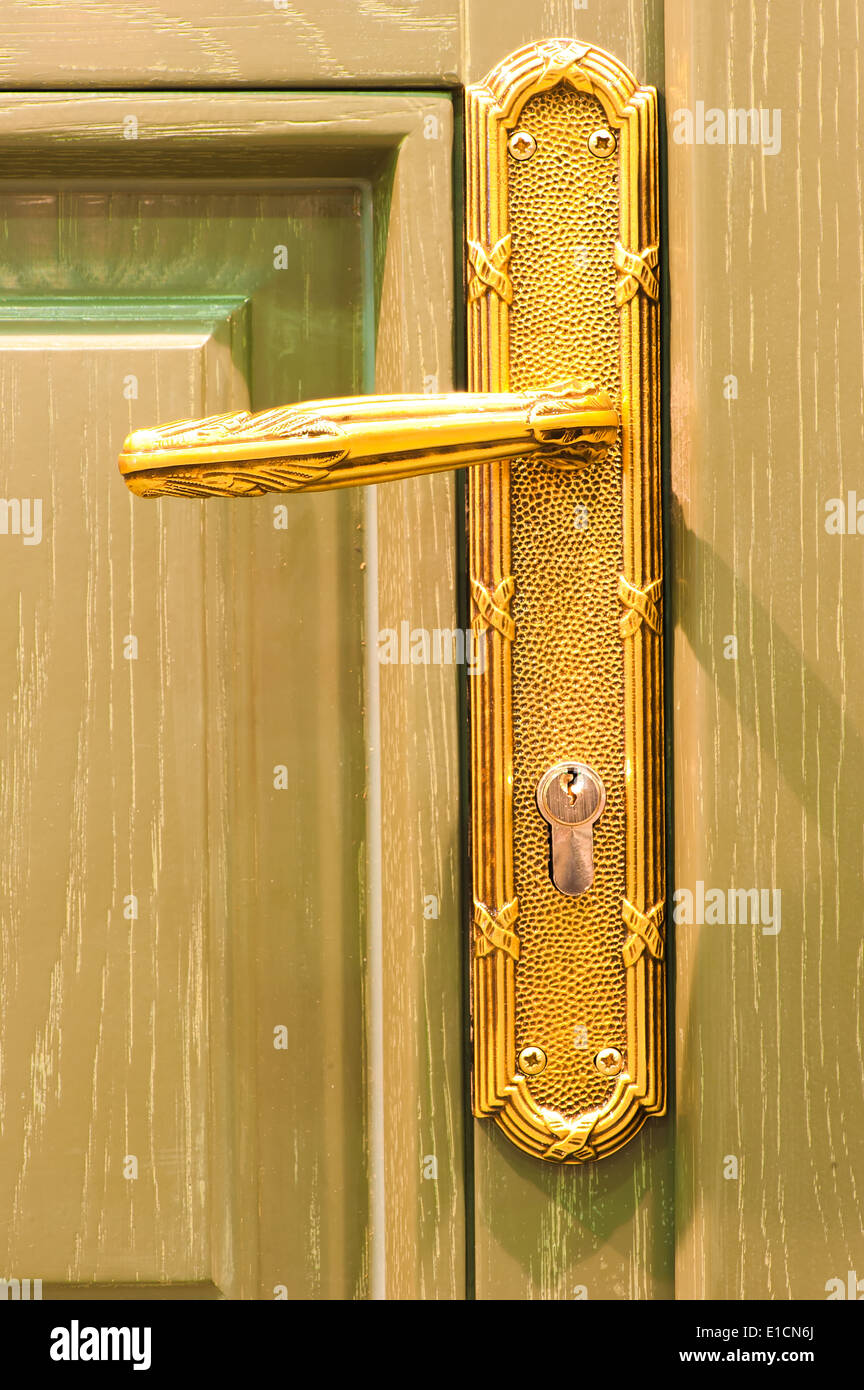 macro shot of a wooden door handles - Stock Image