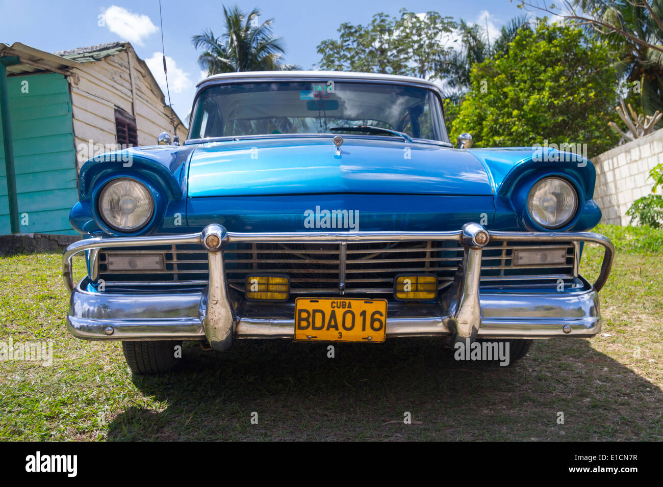 1950s Convertible Old Ford Thunderbird Classic Car In Blue In Stock Photo Alamy