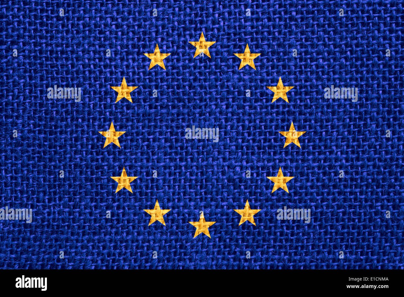 flag of European Union or European banner on linen background - Stock Image