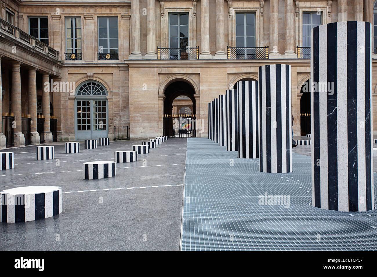 Courtyard in the Palais Royal, Paris - Stock Image
