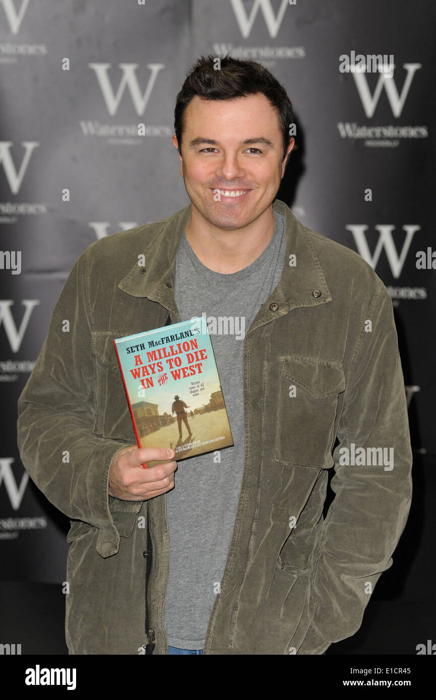 London, 27/05/2014 : Seth MacFarlane book signing at Waterstones Piccadilly. The Animator, writer, producer, director, actor, singer and creator of Family Guy & Ted was be signing copies of his debut novel A Million Ways to Die in the West.. Picture by Julie Edwards - Stock Image