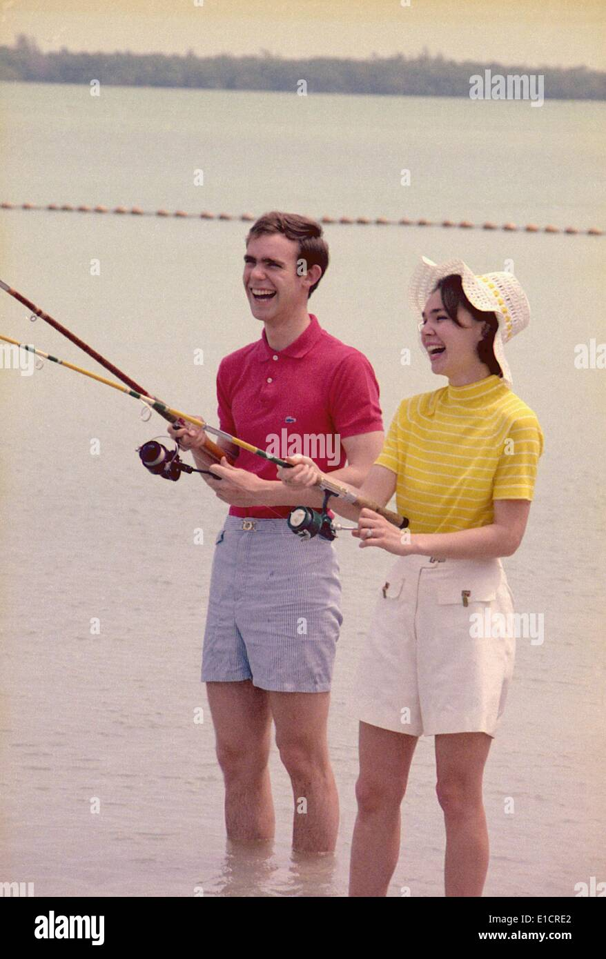 First daughter Julie Nixon Eisenhower with her husband, David, the grandson of President Dwight Eisenhower, fishing - Stock Image
